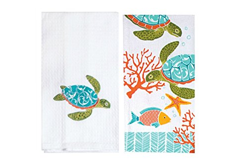 Island Time Sea Turtle Kitchen Towel Set - Bundle of 2 Sea Turtle Themed Kitchen Towels