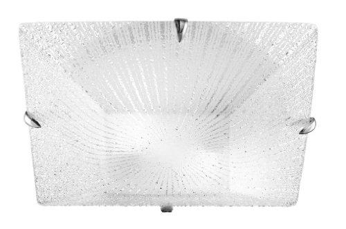 Ganci Per Vetro Plafoniere : Plafoniera da parete in vetro bianco granigliato ganci cromo