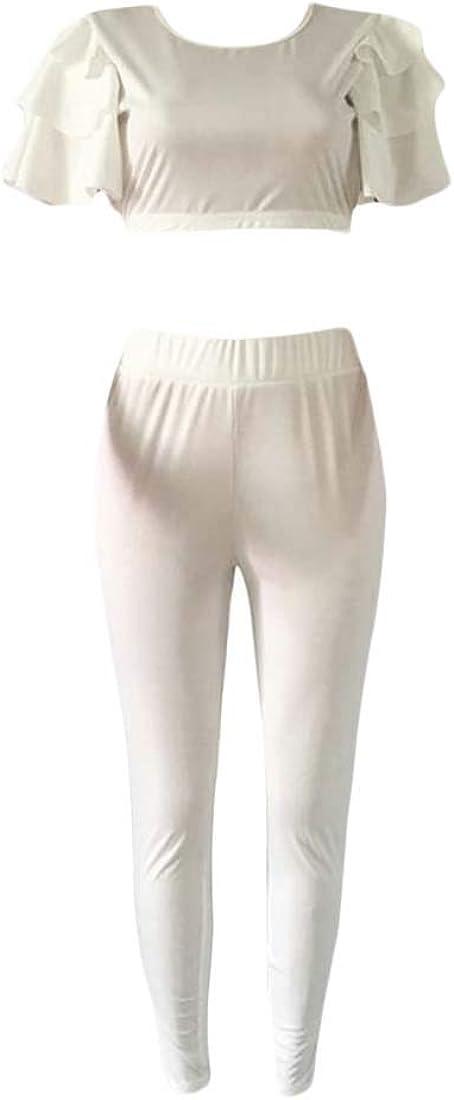pipigo Women Short Sleeve Solid Ruffles Cropped Tops Pants 2 Pcs Set Jumpsuits