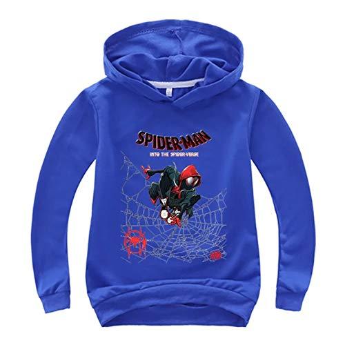 XCO-LEE Boys Girls Spider-Man Long Sleeve Hoodie-Superhero Pullover Hooded Tops for Kids(2T-14 Years) Blue