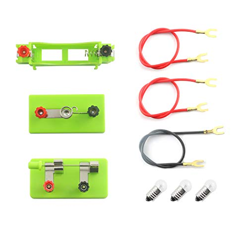 (Maxmoral School Labs Basic Electricity Discovery Circuit Kit for Introductory Electronics-1PC Switch, 1PC AA Battery Holder, 1PC Light Holder, 3PCS Bulbs and Wires)