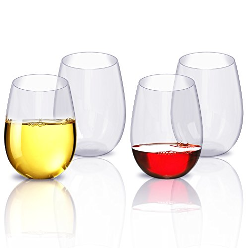 Wine Glasses Set, Unbreakable Party Wine Glasses, Plastic Cups Dishwasher Safe Stemless Plastic Wine Glasses 4pcs -