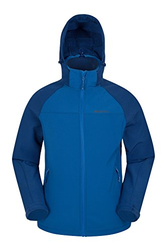 Mountain Warehouse Exodus Mens Softshell Jacket - Casual All Season Coat Two Tone Blue Small (Tone Shell Two)