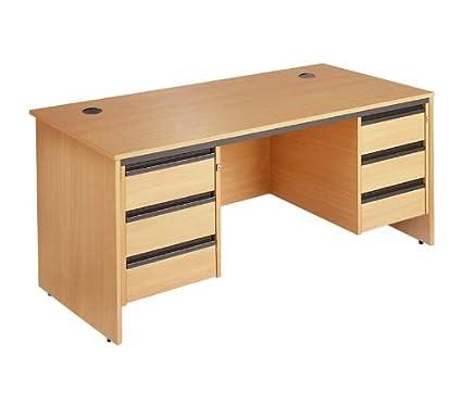 Panel de recta final escritorio - 2 x 3 cajón Pedestalss fija ...