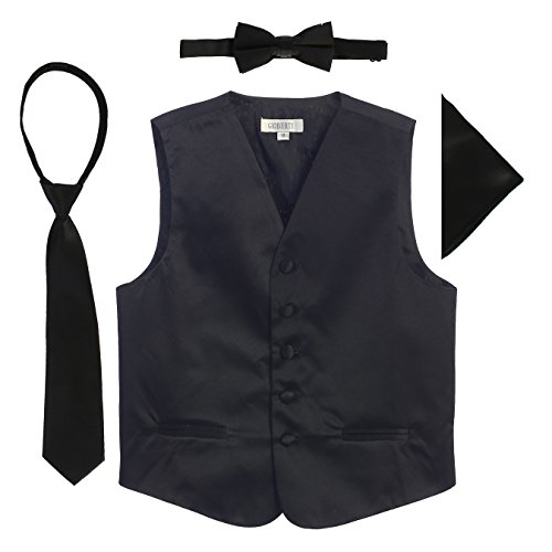 Gioberti Boys 4pc Satin Formal Vest Set, Black, (Boys Black Satin)