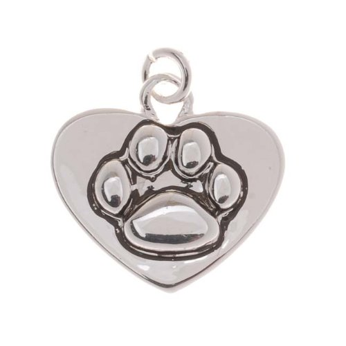 Delight Beads Antiqued Silver Plated Paw Print On Heart Charm 16mm (1)