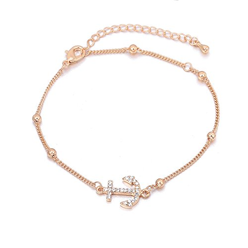 YOYOMA Anklets for Women,Lucky Charm Pendant Ankle Bracelet Girls Kids Gold and Silver Bracelet with CZ Crystal (Anchor Link, Rose Gold Plated)