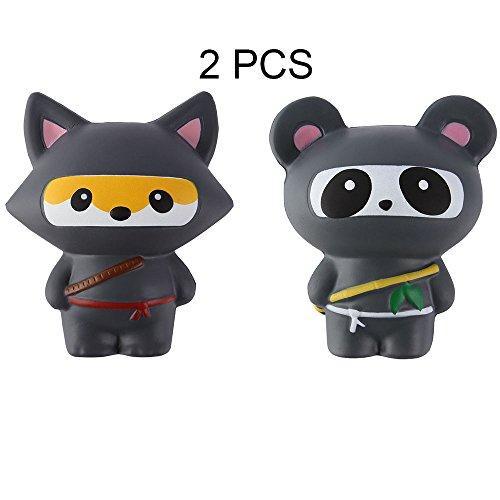 Cheap Anboor 2 PCS Squishies Ninja Jumbo Panda and Fox Slow Rising Squishies Kawaii Scented Soft Animal Toys hot sale
