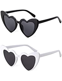 Clout Goggle Heart Sunglasses Vintage Cat Eye Mod Style Retro Kurt Cobain Glasses ((2 pack) Black+White)