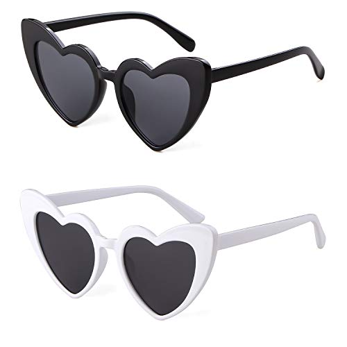 Clout Goggle Heart Sunglasses Vintage Cat Eye Mod Style Retro Kurt Cobain Glasses (Black&White(2 packs))