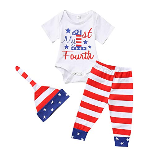 - perfectCOCO Baby Tops and Pants Rompers Boy Clothes 4th of July American Kids Jumpsuit Casual Bodysuit White