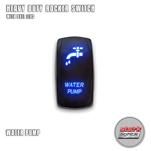 WATER PUMP - Blue - STARK 5-PIN Laser Etched LED Rocker Switch Dual Light - 20A 12V ON/OFF (Water Pump Switch)