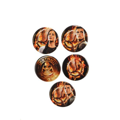 NECA The Hunger Games: Catching Fire Tributes Pin Set (5-Piece) (Katniss Mockingjay Pin)