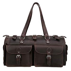 Polare 22'' Indiana Jones Full Grain Leather Duffle Duffel Bag 7