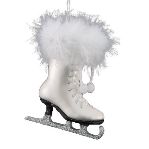 Kurt Adler 4-1/4-Inch Noble Gems Glass White Ice Skate Ornament (Ice Christmas Decoration Skate Tree)