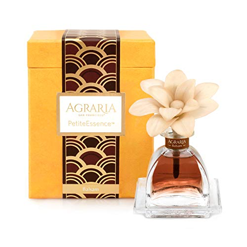 AGRARIA PetiteEssence Luxury Fragrance Diffuser Balsam Scent, Includes 1 Sola Flowers and 7 Reeds Agraria Balsam Perfume Candle