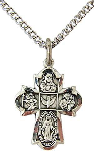 (Religious Jewelry Sterling Silver Engraved 4 Way Cross Medal Pendant Necklace, 5/8 Inch)