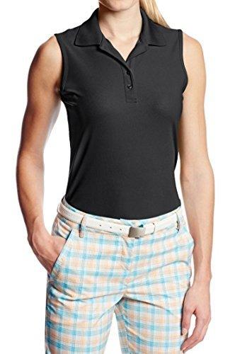 - Greg Norman Women's Play Dry Sleeveless Golf Polo (Medium, Black)