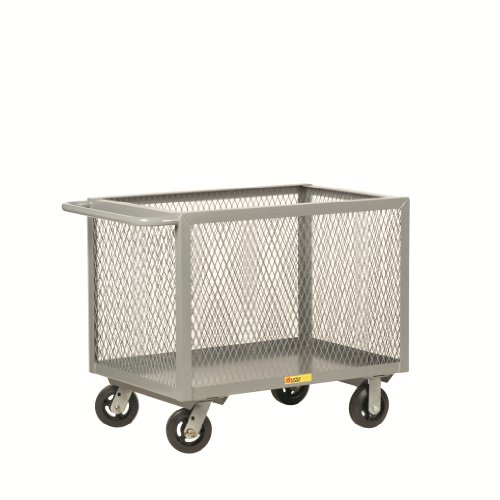 Little Giant BTX2448-6MR  Expanded Metal Bulk Handling Storage and Transport Box Truck with 6'' Mold-On Rubber Wheels, 2000 lbs Capacity, 48'' Length x 24'' Width x 33-1/2'' Height by Little Giant