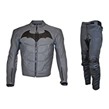 Men's Batman Dark Real Leather Knight Suit Grey