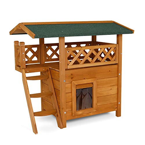 Dibea Lodge Cat House (Wood, 77 x 50 x 73 cm) with Terrace and Stairs