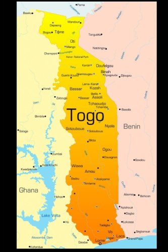 Map of Togo Journal: 150 page lined notebook/diary