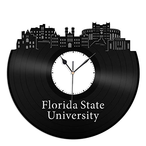 VinylShopUS - Florida State University Vinyl Wall Clock City Skyline Best Gift for Home and Office | Room Decoration