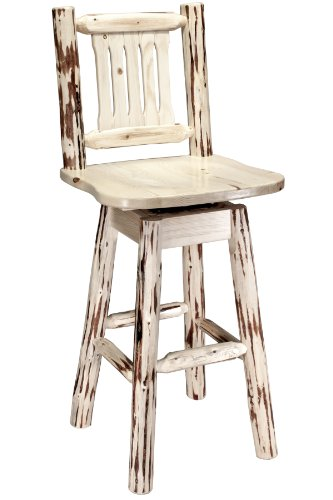Montana Woodworks Montana Collection Barstool with Back and Swivel, Ergonomic Wooden Seat, Ready to Finish