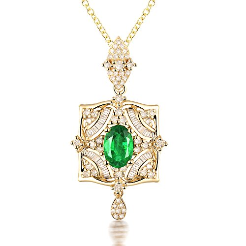 Lanmi 14K Yellow Gold Natural Colombia Emerald Diamond Pendant Necklaces Engagement Wedding for Women