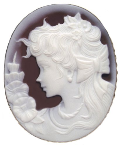 Brooch Natural Agate Stone Lady Rose, Cameo Pendant Solid 18k Gold Frame, Italian Laser Carved