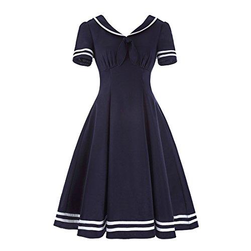 Vintage Sailor Uniforms (Ez-sofei Women's Vintage Pleated Rockabilly Sailor Dresses L Dark Blue)