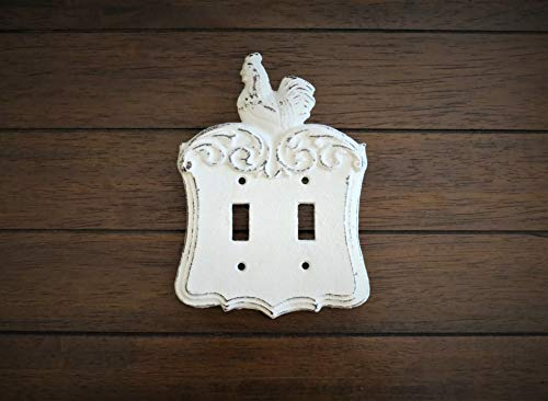 Farmhouse Double Light Switch Toggle Plate Antique White or Pick Color Country Cottage Chic Rooster Cover (Switchplate Rooster)