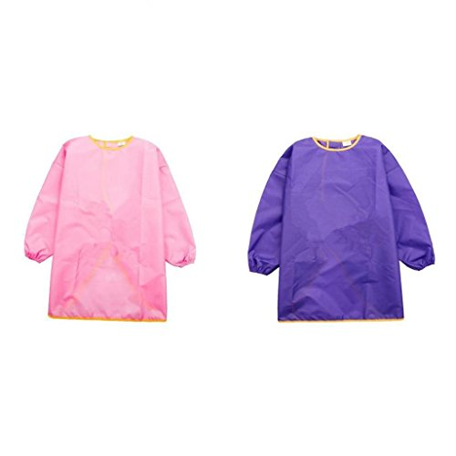 MonkeyJack Art Apron Long Sleeve Smock Paint Waterproof Craft Unisex Kid L Purple+Pink