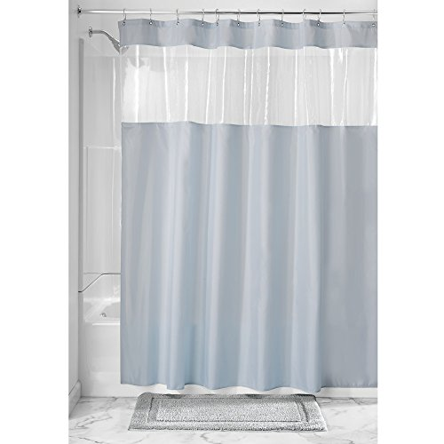 InterDesign Fabric Shower Curtain with Clear Window for Bathroom - 72