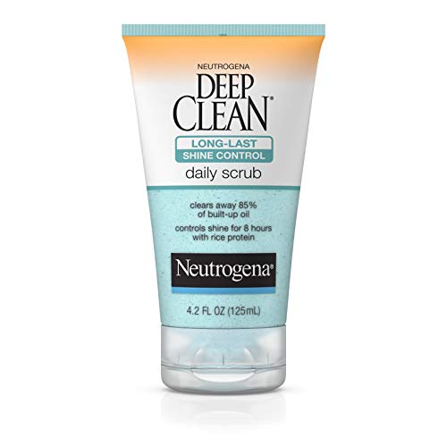 Neutrogena Deep Clean Long-Last Shine Control Daily Exfoliating Facial Scrub with Rice Protein to Combat Oil and Control Shine, Oil-Free, 4.2 fl. oz