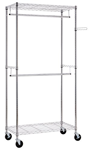 Finnhomy Heavy Duty Rolling Garment Rack Clothes Hangers with Double Rods and Shelves, Thicken Steel Tube, Chrome Chrome Double Closet Rod