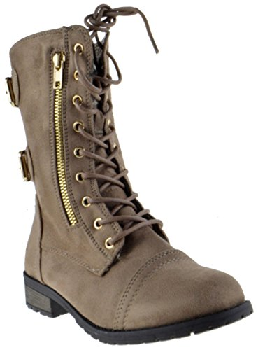 Top Moda Frauen-Pack-72 Lace Up Combat Boot Taupe Wildleder