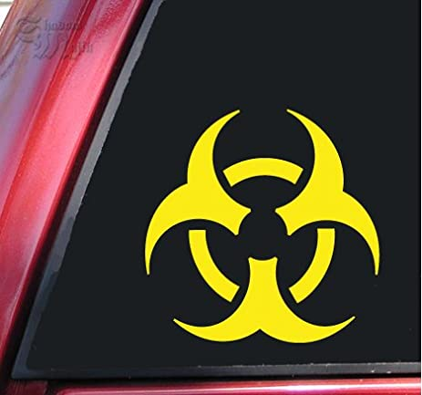 Biohazard symbol vinyl decal sticker 6 x 6 yellow
