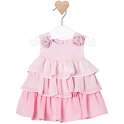 Mayoral Newborn Baby Girls 0M-12M Rose-Pink Ombre Tier Chiffon Social Party Dress, Rose,12 Months