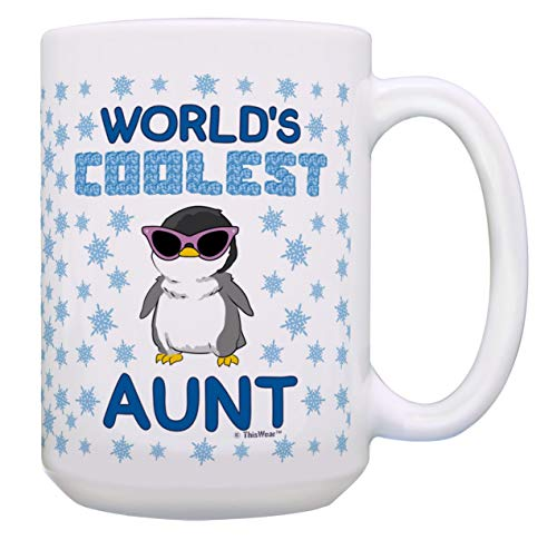 Aunt Birthday Gifts World's Coolest Aunt Niece Gift Aunt Nephew Gift 15-oz Coffee Mug Tea Cup White