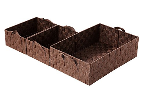 Decorative Storage Organizer Nesting Baskets 3 Piece Set, Brown 1 Large (17.5 x 11.8 x 5.1 inches) 2 Small (11 x 8 x 4.5 inches)