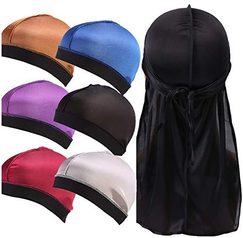 YI HENG MEI 3 Piece/6 Pieces Stretchable Elatic Band Silky Stocking Wave Cap Dome Wig Caps Durag (6pcs Wave Cap+1pc Black Durag) ()
