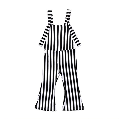 Toddler Kids Baby Girl Stripes Bell-Bottom Jumpsuit Romper Overalls Pants Outfits (Black, 1-2 ()