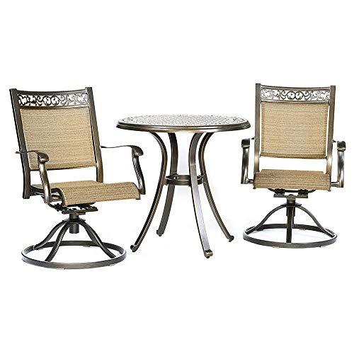 - Dali 3 Piece Bistro Set, Cast Aluminum Dining Table Swivel Rocker Chairs Outdoor Patio Furniture