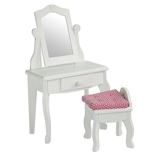 Doll Mirror (Olivia's Little World - Princess Vanity Table and Chair Set with Rotatable Mirror (White) | Wooden 18 inch Doll Furniture)