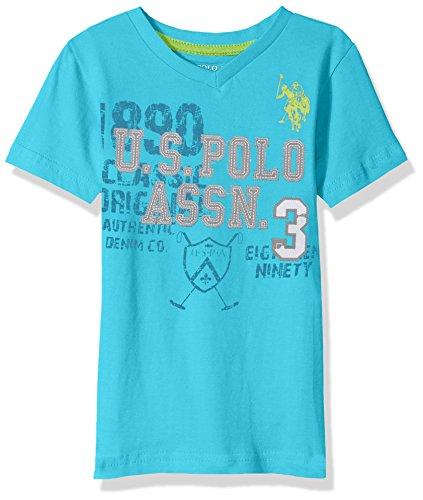 U.S. Polo Assn. Boys' Big Short Sleeve Solid V-Neck T-Shirt, Felt Applique Shoking Peacock, -