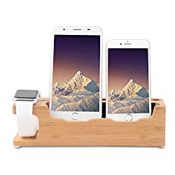 Ovtel Apple Watch Phone Stand, Bamboo Wooden New 3 in 1 Desktop Nightstand Cell Phone Charger Stand Compatibile iPhone X/8/7/6/6s Plus,Apple Watch 38mm 42mm - iPhone Charger Stand