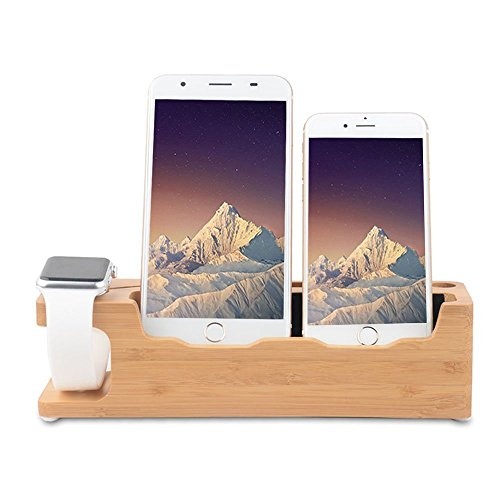 Ovtel Apple Watch Phone Stand, Bamboo Wooden New 3 in 1 Desktop Nightstand Cell Phone Charger Stand Compatibile iPhone X/8/7/6/6s Plus,Apple Watch 38mm 42mm - iPhone Charger Stand by Ovtel