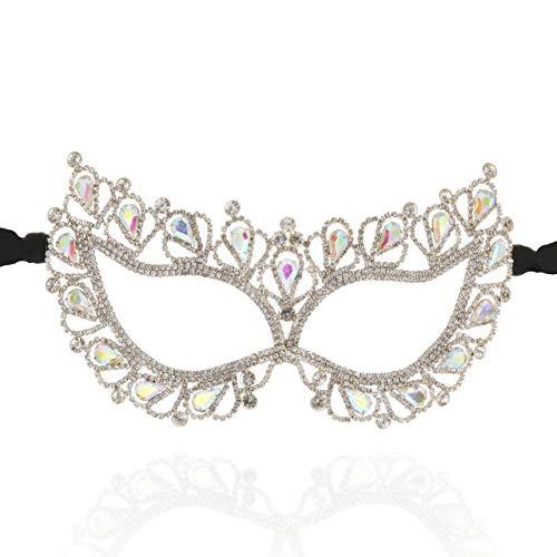 Art Deco Luxury Teardrop Venetian Masquerade Mask in Gold Iridescent