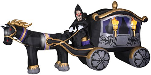 Gemmy Airblown Inflatable Pumpkin Carriage Pulled by a Horse with Grim Reaper as a Driver - Holiday Yard Decorations, 13-foot Long x Approximately 6.5-foot Tall x 4-foot (Halloween Carriage)